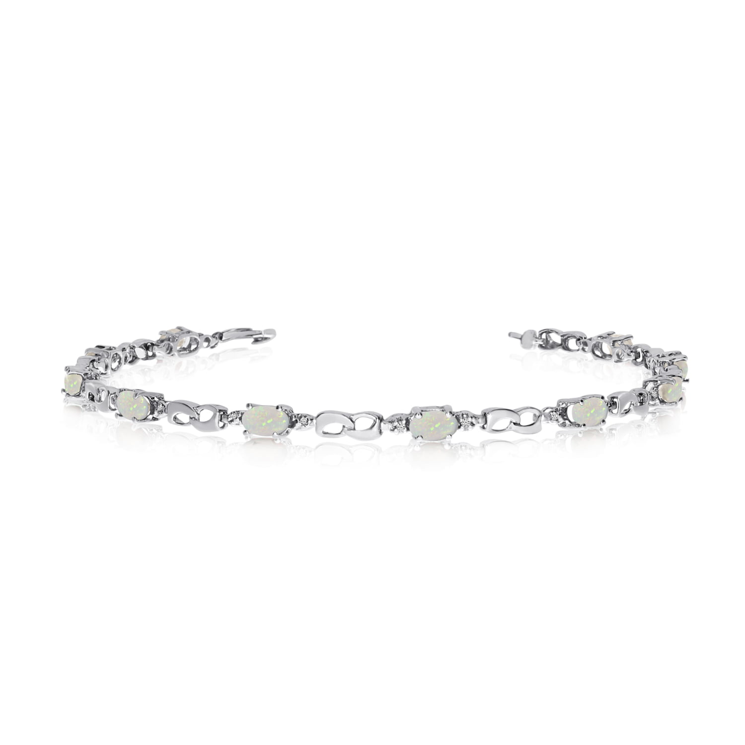 14K White Gold Oval Opal and Diamond Link Bracelet by