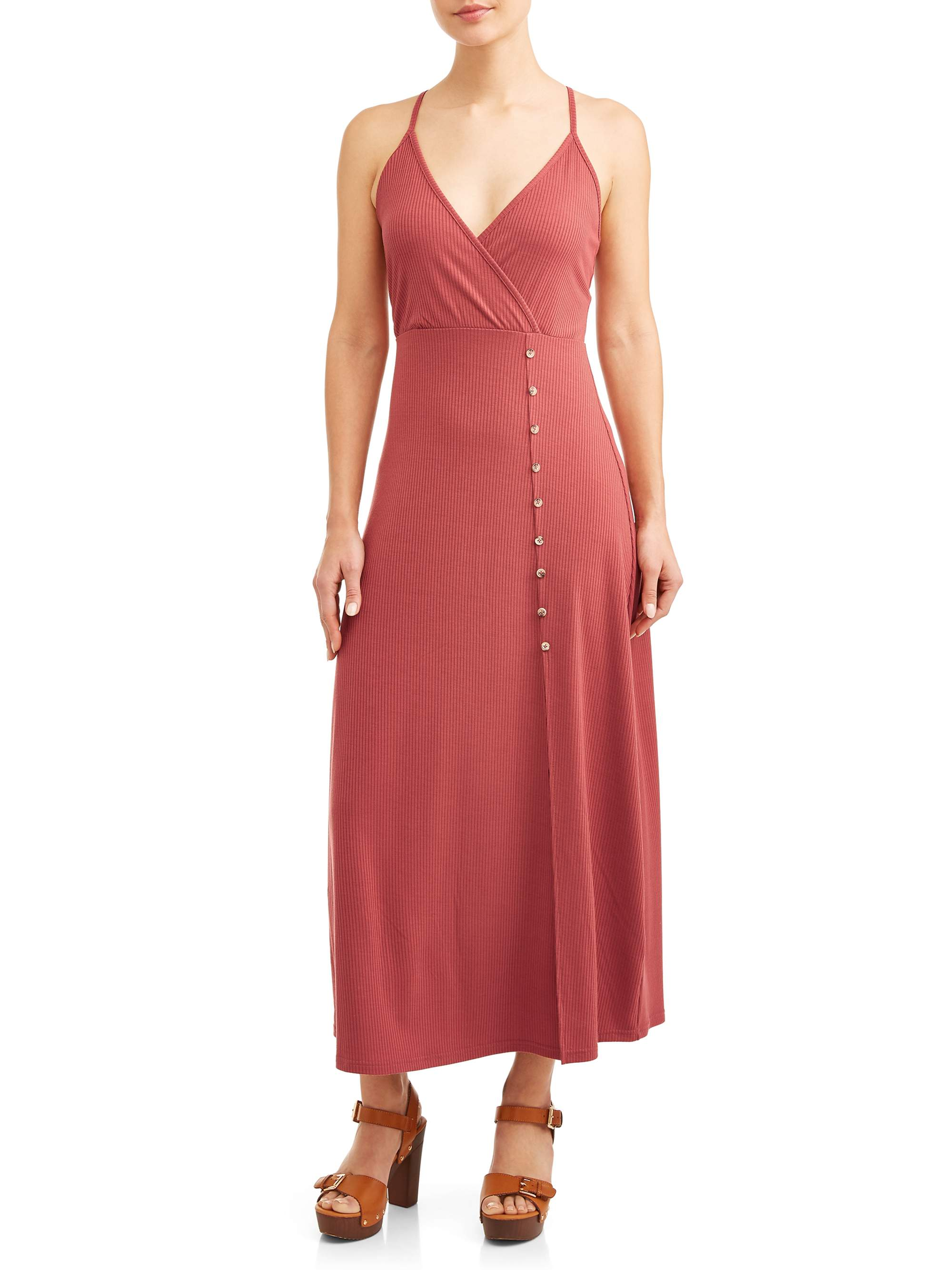 Juniors' Wrap Side Button Front Maxi Dress