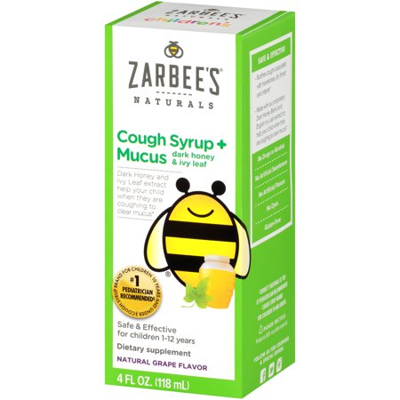 Zarbee's Naturals Children's Cough Syrup + Mucus with Dark Honey & Ivy Leaf , Natural Grape Flavor, 4 Fl. Ounces (1