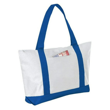 Stlish Two Tone Polyester Tote Bag with Zipper Closure (Royal)