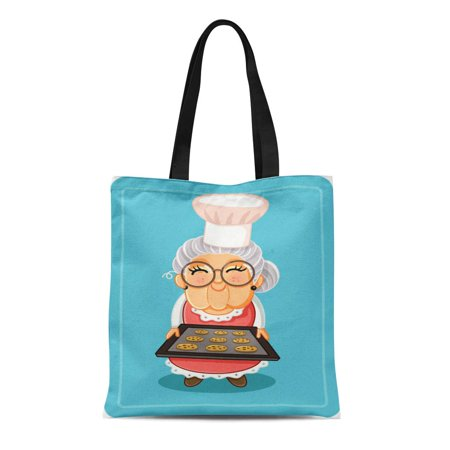 Cookie Tray Bags (SIDONKU Canvas Tote Bag Grandma Baking Chocolate Chips Cookies Cute Granny Tray Durable Reusable Shopping Shoulder Grocery)