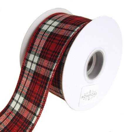 Cabin Natural Woolen Checkered Wired Holiday Christmas Ribbon, Red/Black, 2-1/2-Inch, 10 Yards