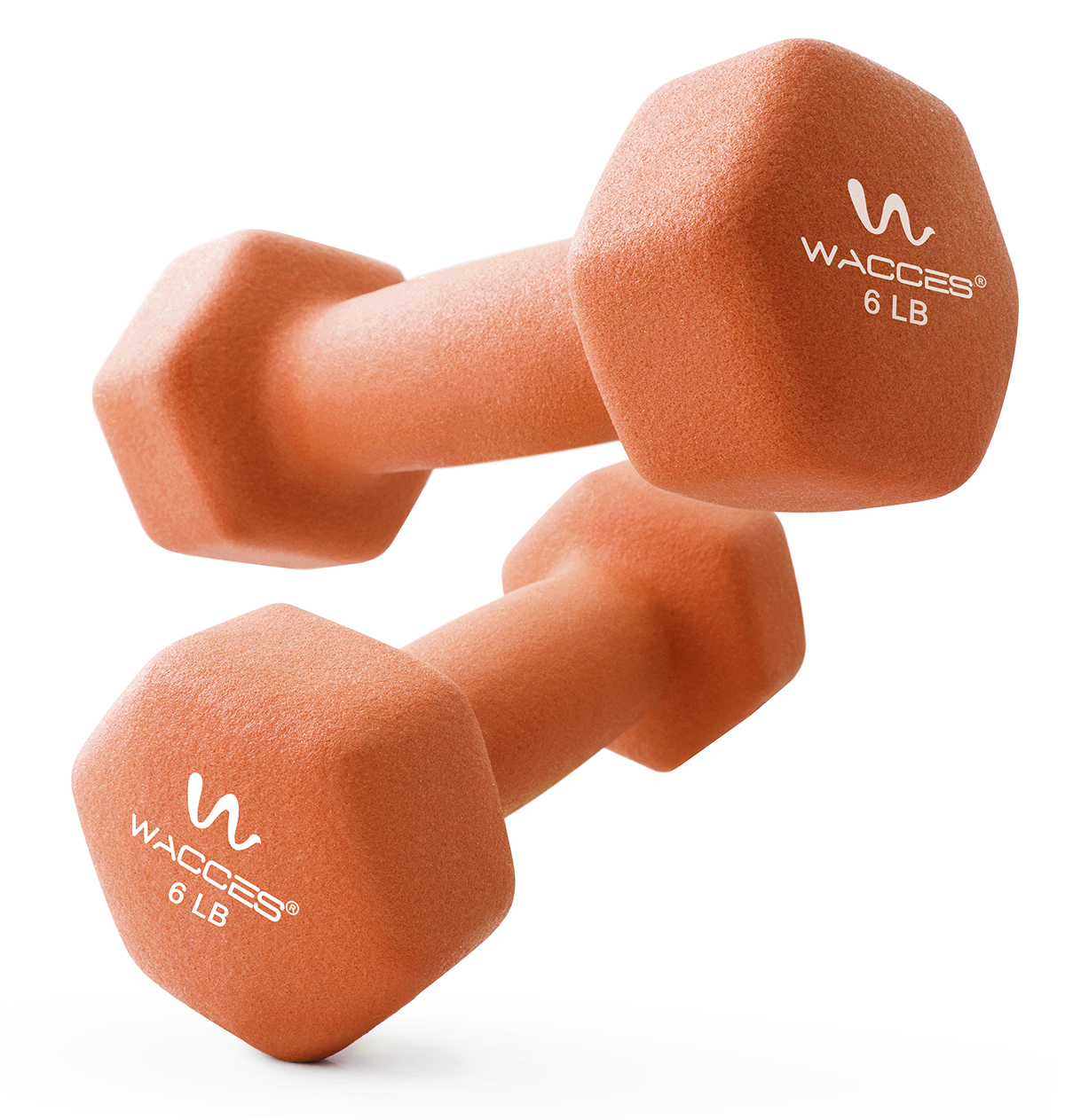 Wacces Neoprene Dipped Coated Set of 2 Dumbbells Hand Weights Sets Non Slip Grip 2 x 6 LB