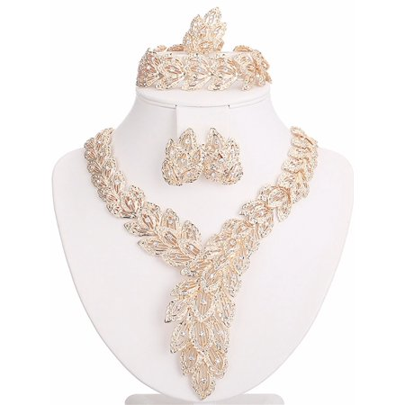 Moochi 18K Gold Plated Scarf-Shaped Crystal Chain Necklace Ring Jewelry Set Akoya Gold Jewelry Set