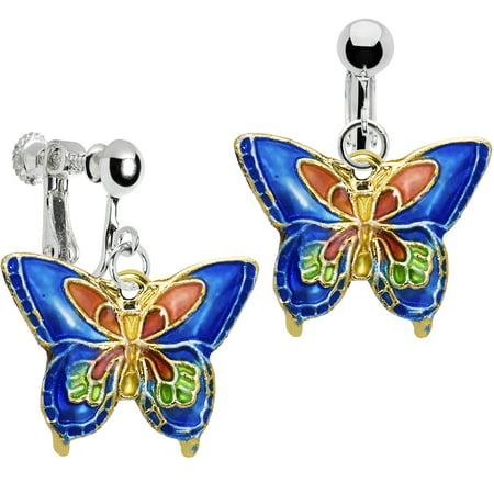 Body Candy Handcrafted Silver Plated Blue Butterfly Clip On Dangle -