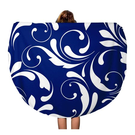 SIDONKU 60 inch Round Beach Towel Blanket Blue Pattern Floral Plant Wrappimg Solid Trim Carving Dark Travel Circle Circular Towels Mat Tapestry Beach