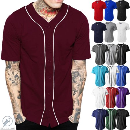 Men's Baseball Jersey Button Down Athletic Uniform Athletic Baseball Uniform