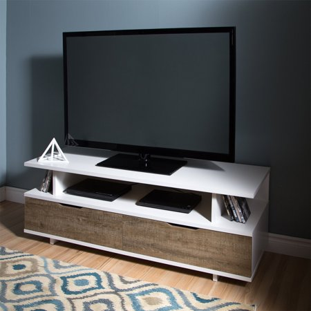 Reflekt TV Stand With Drawers, For TVs Up To 60u0022 Weathered Oak And Pure White - South Shore