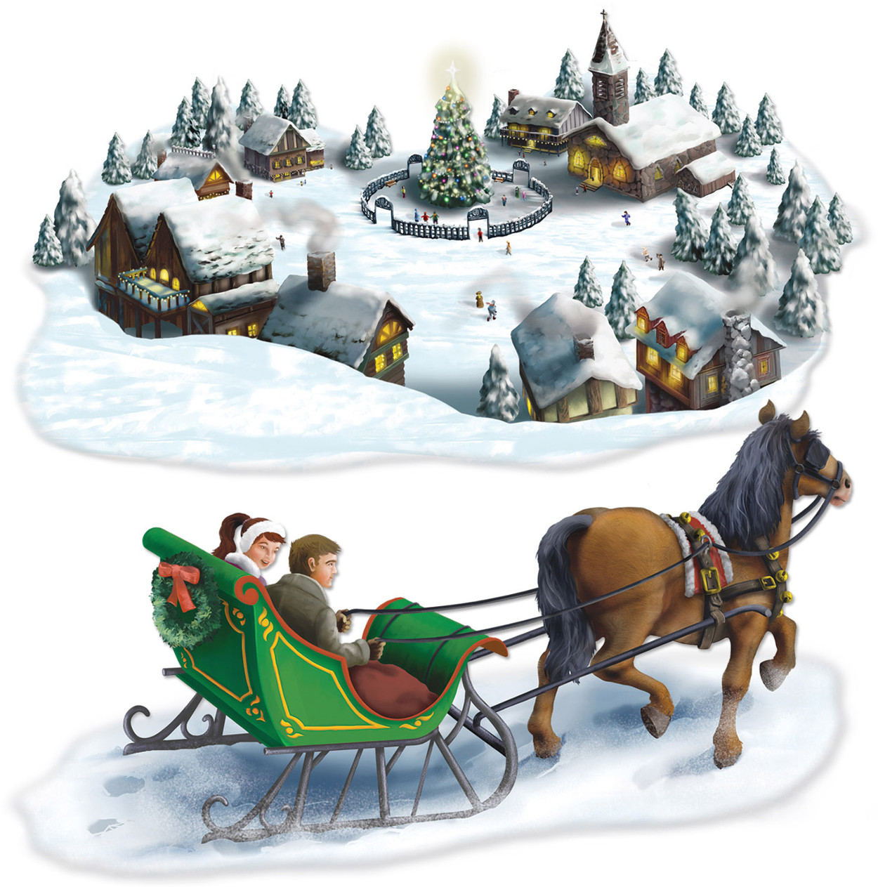 "Holiday Village And Sleigh Ride Winter Prop Decorations 4' 7"" and 4' 10"""