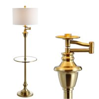 "Cora 60"" Metal/Glass LED Side Table and Floor Lamp, Brass by JONATHAN Y"