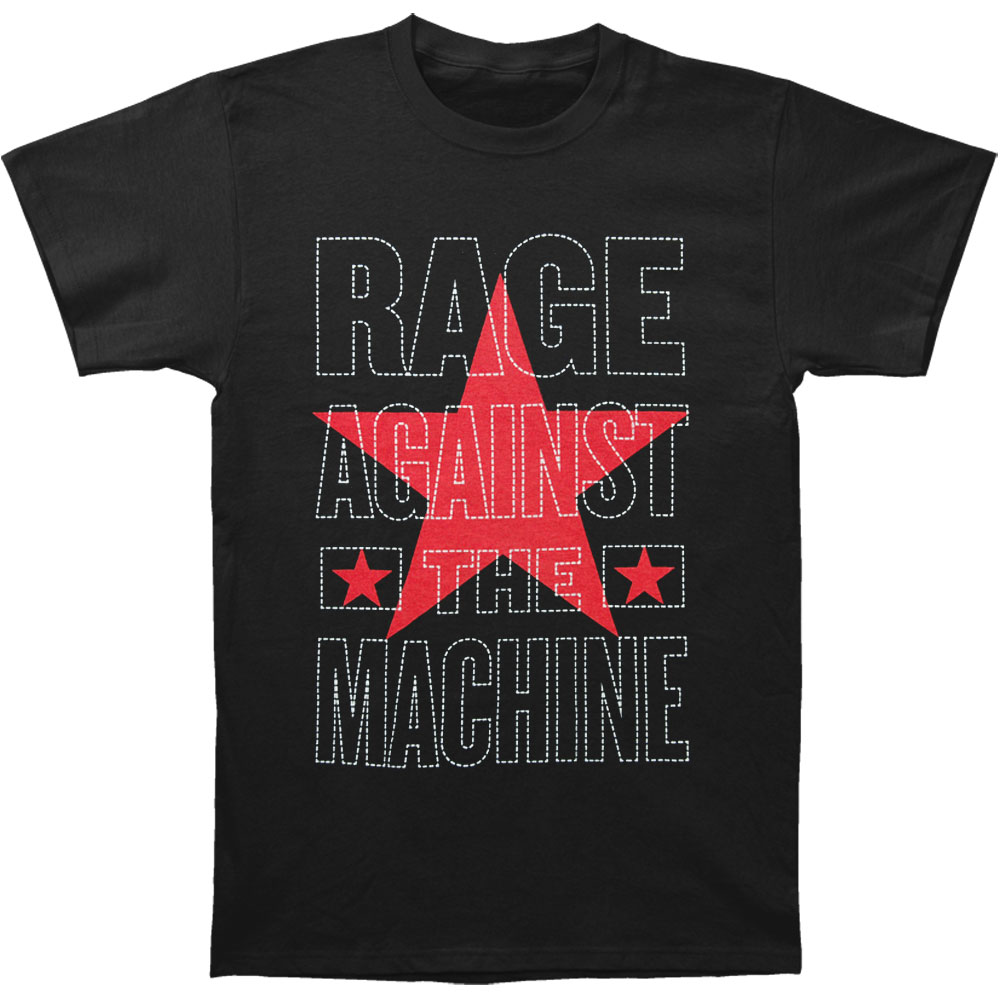 Rage Against The Machine Men's  Stacked Star Logo Slim Fit T-shirt Black