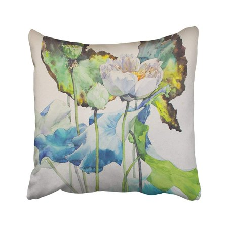 BPBOP Colorful Beautiful Lotus Watercolor Green Beauty Blossom Botany Floral Flowers Garden Pillowcase Pillow Cover 16x16 (Lotus Blossom Light)