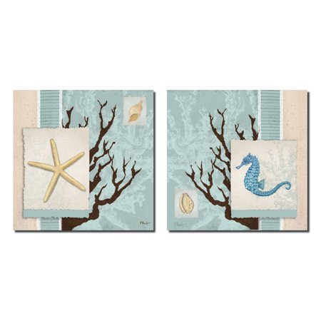 Aquarius Blue II Lovely, Vintage Seahorse, Coral Reef and Sea Star Prints: Two 12X12 Poster Prints