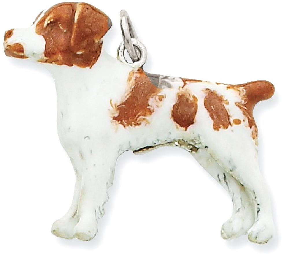 ICE CARATS Silver Enamel Brittany Spaniel Pendant Charm Necklace Animal Dog Fashion Jewelry Ideal Gifts For Women Gift Set From Heart