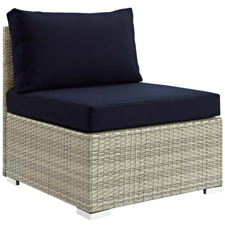 Modern Contemporary Urban Design Outdoor Patio Balcony Garden Furniture Sofa Middle Chair, Sunbrella Rattan Wicker, Navy Blue Light Gray
