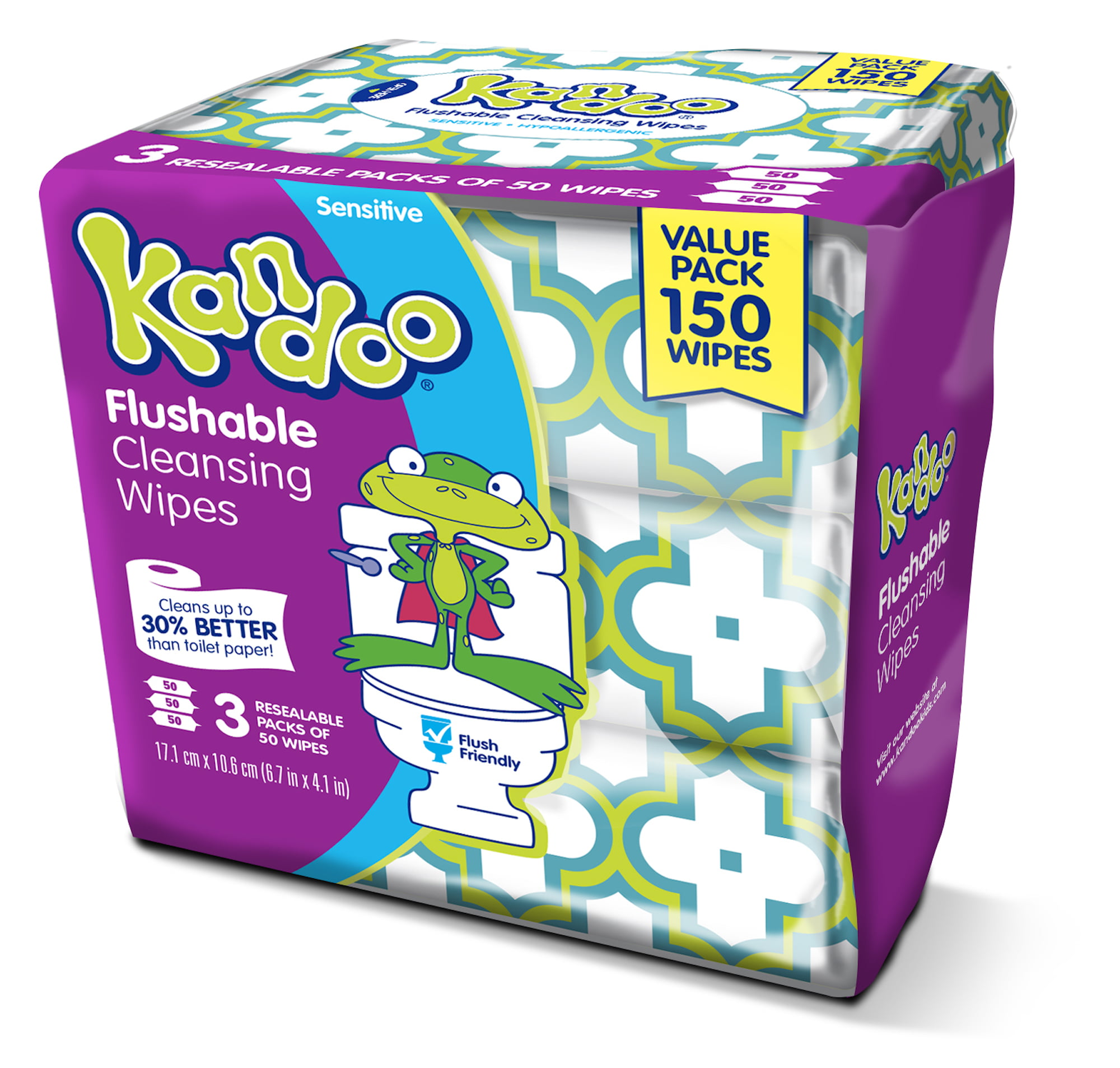 Sensitive 100 ea Pampers Kandoo Flushable Wipes Pack of 6