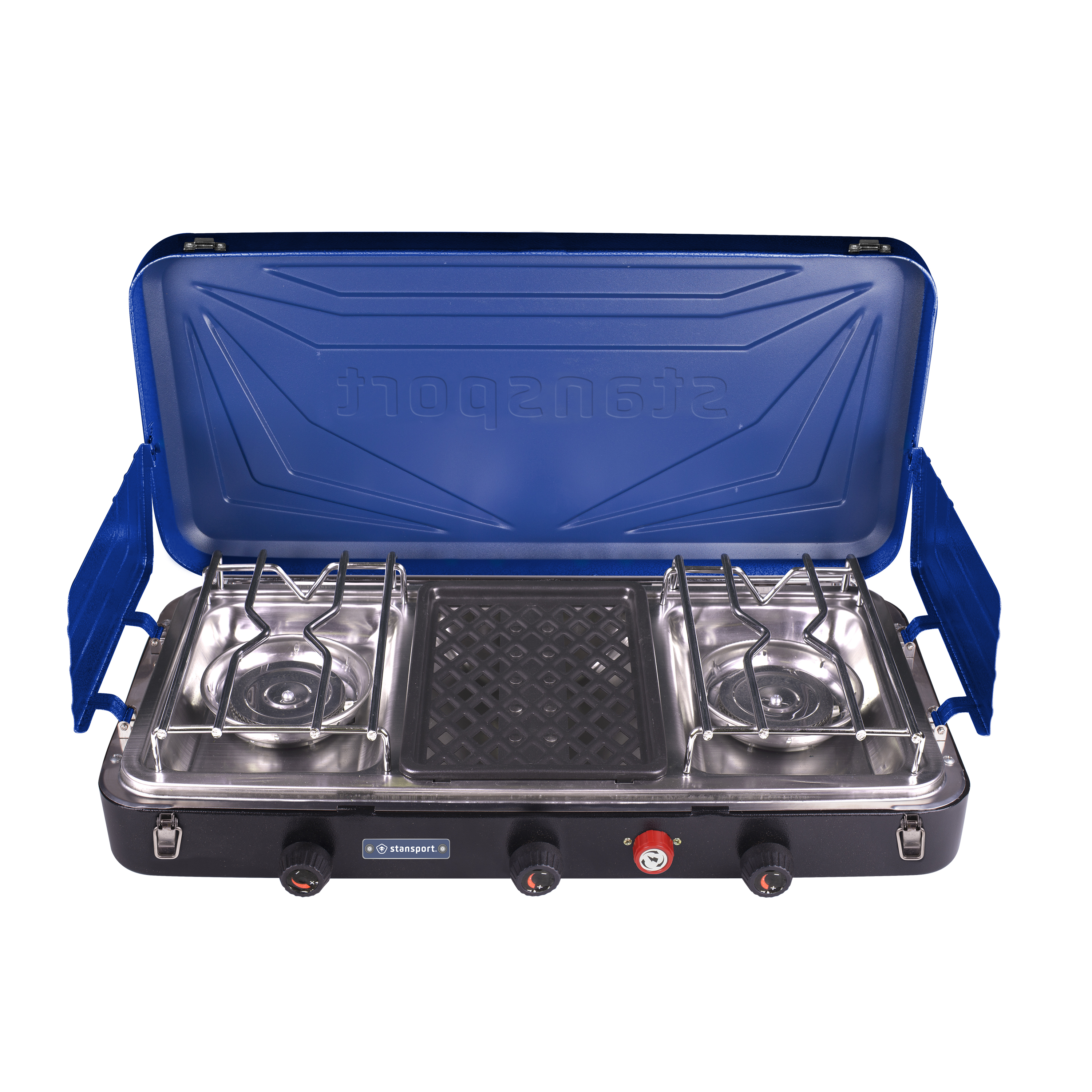 Stansport Outfitter Series Propane Stove 2-25 K & 1-5 K Burners - Blue