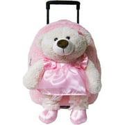 8071 Pink Ballet Bear Plush Rolling Backpack