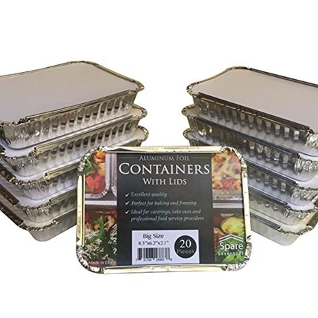 20 Pack - Aluminum Foil Pan Containers with Lids Take Out Pans Food Containers Disposable Easy Pack 2.25Lb Capacity 8.5