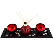 DecorFreak Red Votives With Reed Diffuser & Artificial Flower