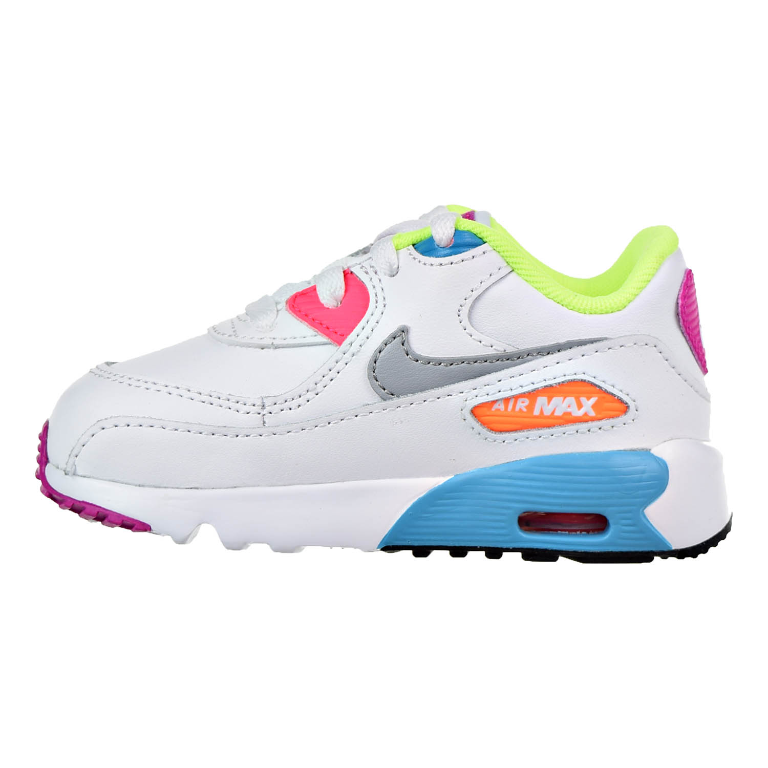 Nike Air Max 90 Leather Toddler Shoes White/Wolf Grey/Chlorine Blue  833379-102 - Walmart.com