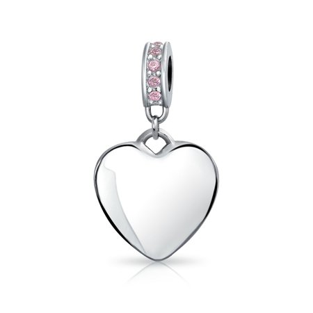 Engravable Crystal Heart Charm Bead For Women For Teen 925 Sterling Silver European Bracelet 12 Birth Month Available ()