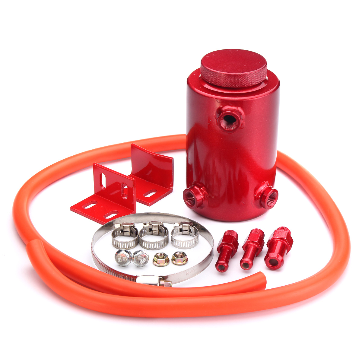 Aluminum Engine Oil Reservoir Catch Can Tank Kit Breather Waste Oil Recycling Red Black