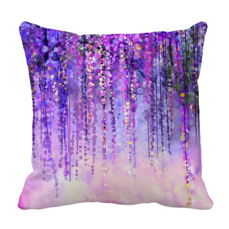 YKCG Wisteria Flowers Tree Purple Violet Floral Pillowcase Pillow Cushion Case Cover Twin Sides 18x18 inches - Purple Pillow