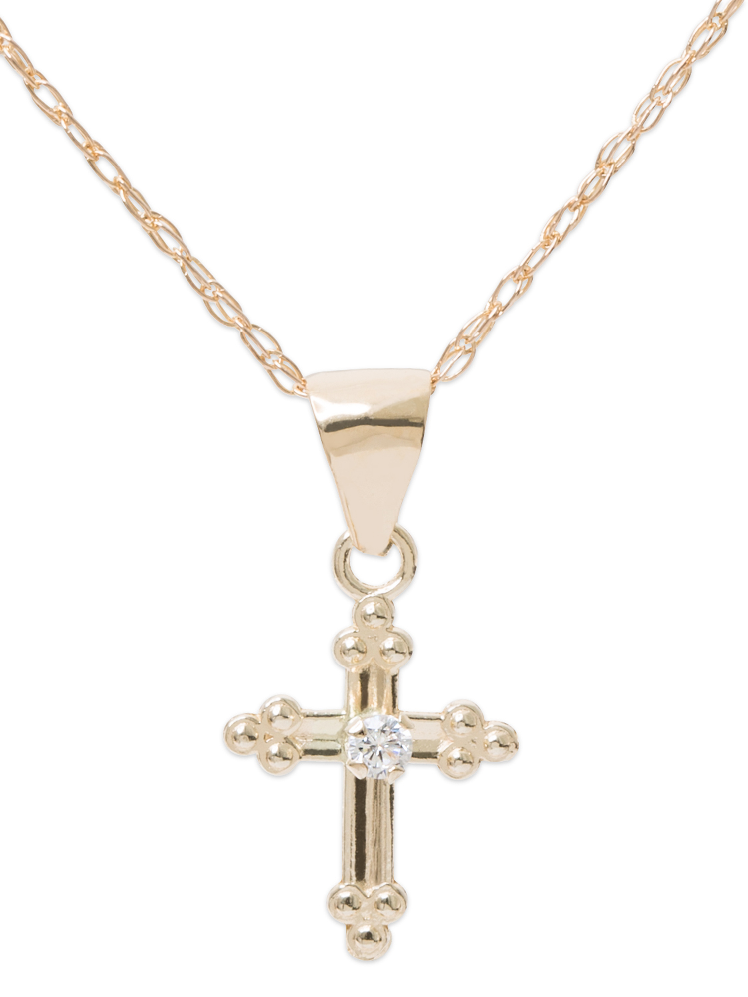 Girls' 14kt Yellow Gold CZ Cross Pendant, 18""