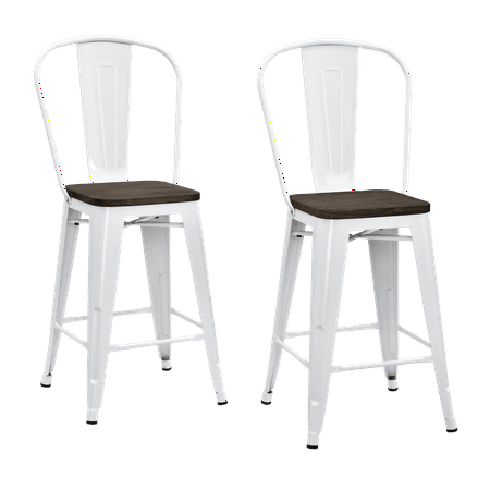 Dhp Luxor 24 Quot Metal Counter Stool With Wood Seat Set Of 2