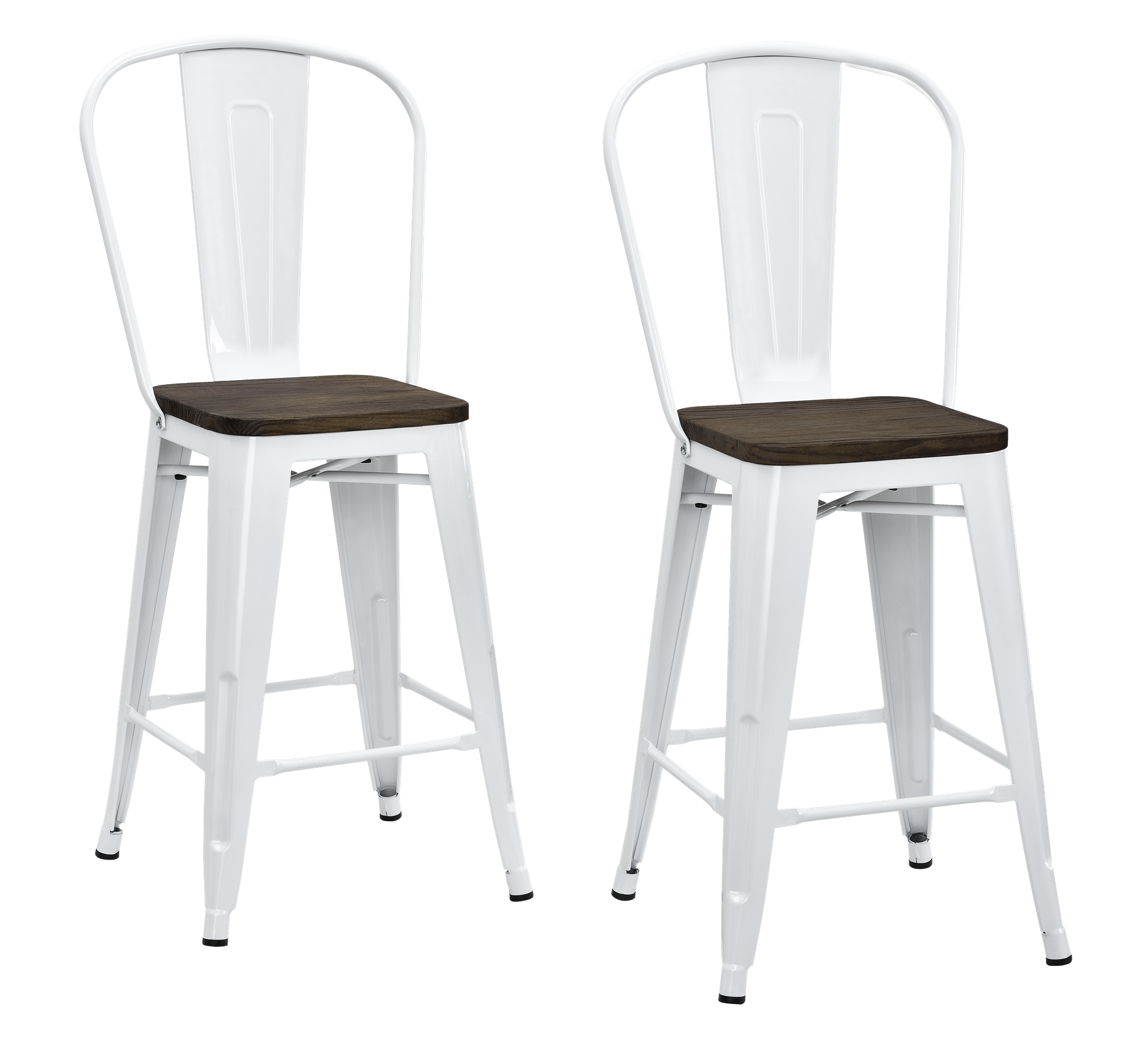 """DHP Luxor 24"""" Metal Counter Stool with Wood Seat, Set of 2, Multiple Colors"""