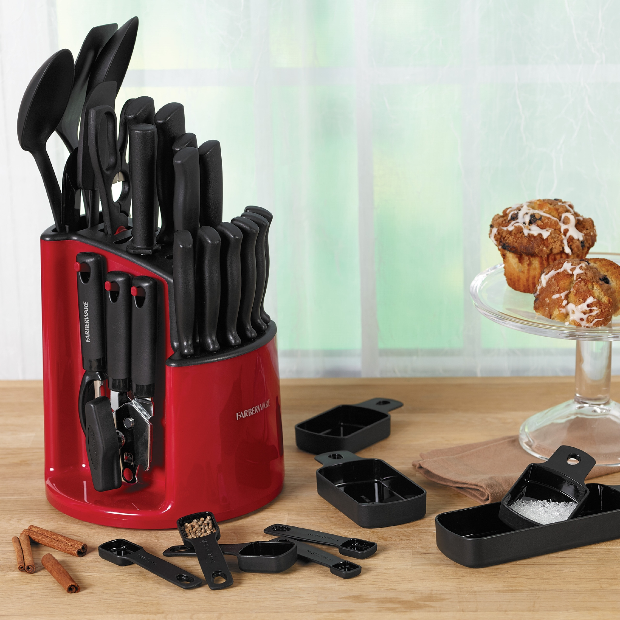 Farberware 30-Piece Spin N Store Knife and Kitchen Utensil Set by Lifetime Brands