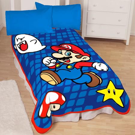 02793440dd Nintendo Leapin  Mario Twin Blanket