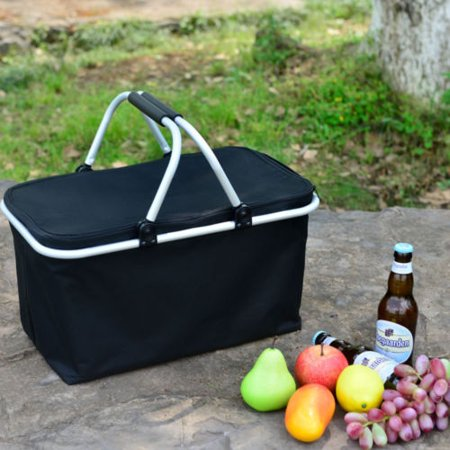 Ktaxon Insulated Folding Picnic Basket - Insulated Cooler with Carrying Handles (Black)