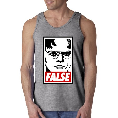 New Way 1154 - Men's Tank-Top Dwight Schrute The Office USA False Statement XL Heather Grey