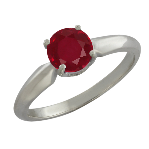 1.05 Ct Round Red Ruby Sterling Silver Ring by