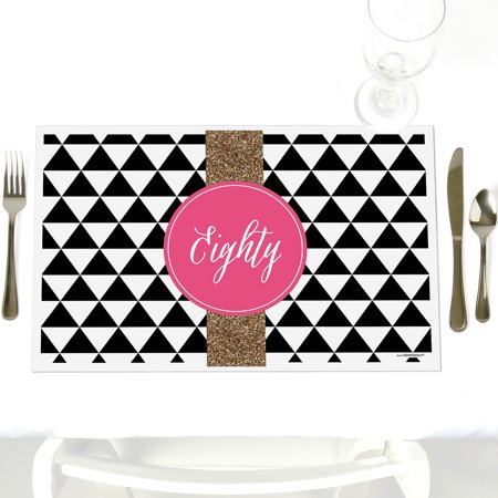 Chic 80th Birthday - Party Table Decorations - Birthday Party Placemats - Set of 12 - Decorations For 80th Birthday