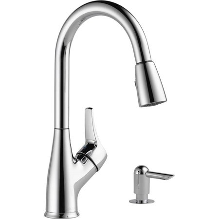 Peerless Single Handle Pull-Down Sprayer Kitchen Faucet with Soap Dispenser in Chrome P88121LF-SD-W ()