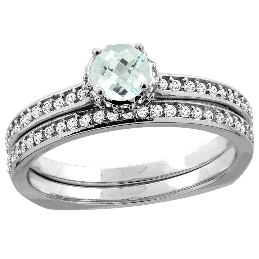 10K White Gold Diamond Natural Aquamarine 2-pc Bridal Ring Set Round 4mm, sizes 5 10 by WorldJewels