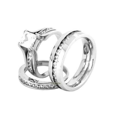 Lanyjewelry His Hers Couple 7x7mm Princess Square Cz Wedding