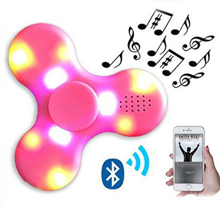 Led Light Switch Mini Bluetooth Speaker Music Light Up Fidget Spinner Edc Hand Spinner For Autism And Kids  Fidget Toy Pink