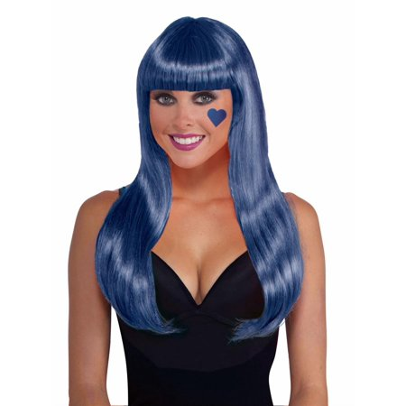 Neon Blue Long Adult Halloween Costume Accessory Wig