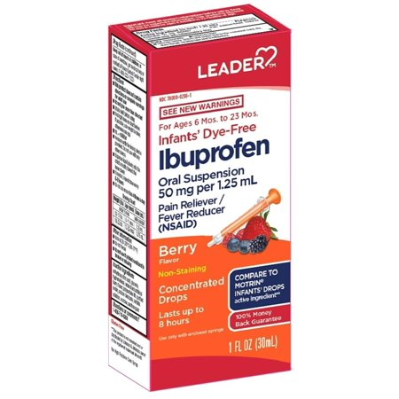 Leader Infants' Dye Free Ibuprofen Drops, Berry Flavor, 1 fl oz Infants Drops Dye