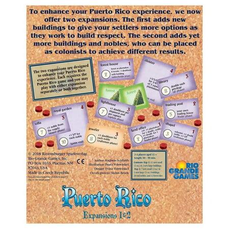 Puerto Rico Expansions 1 & 2 Award Winning Board Game Rio Grande Games RIO565