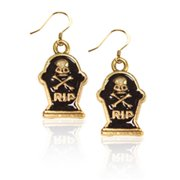 Whimsical Gifts 4375G-ER Tombstone with Skull Charm Earrings, Gold