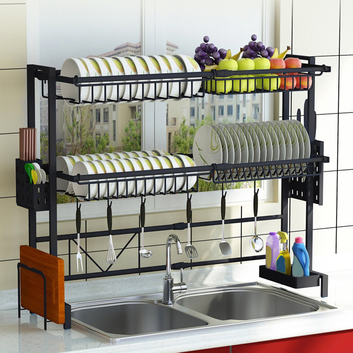 Upgraded 1 2tier Sink Rack Dish Drainer For Kitchen Sink Racks Stainless Steel Over The Sink Shelf Storage Rack Walmart Com Walmart Com