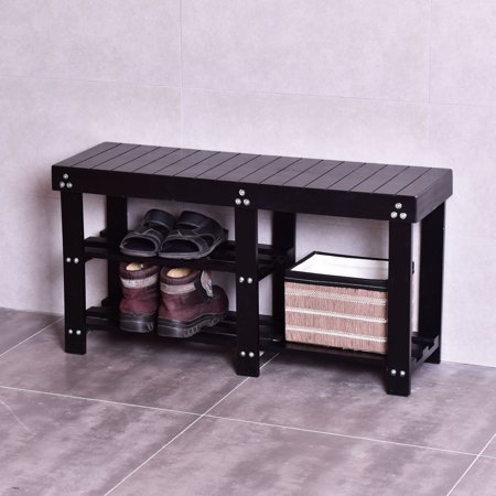 Wooden Bench (Costway Wooden Shoe Bench Boot Storage Shelf Organizer Seat Entryway Hallway Black )