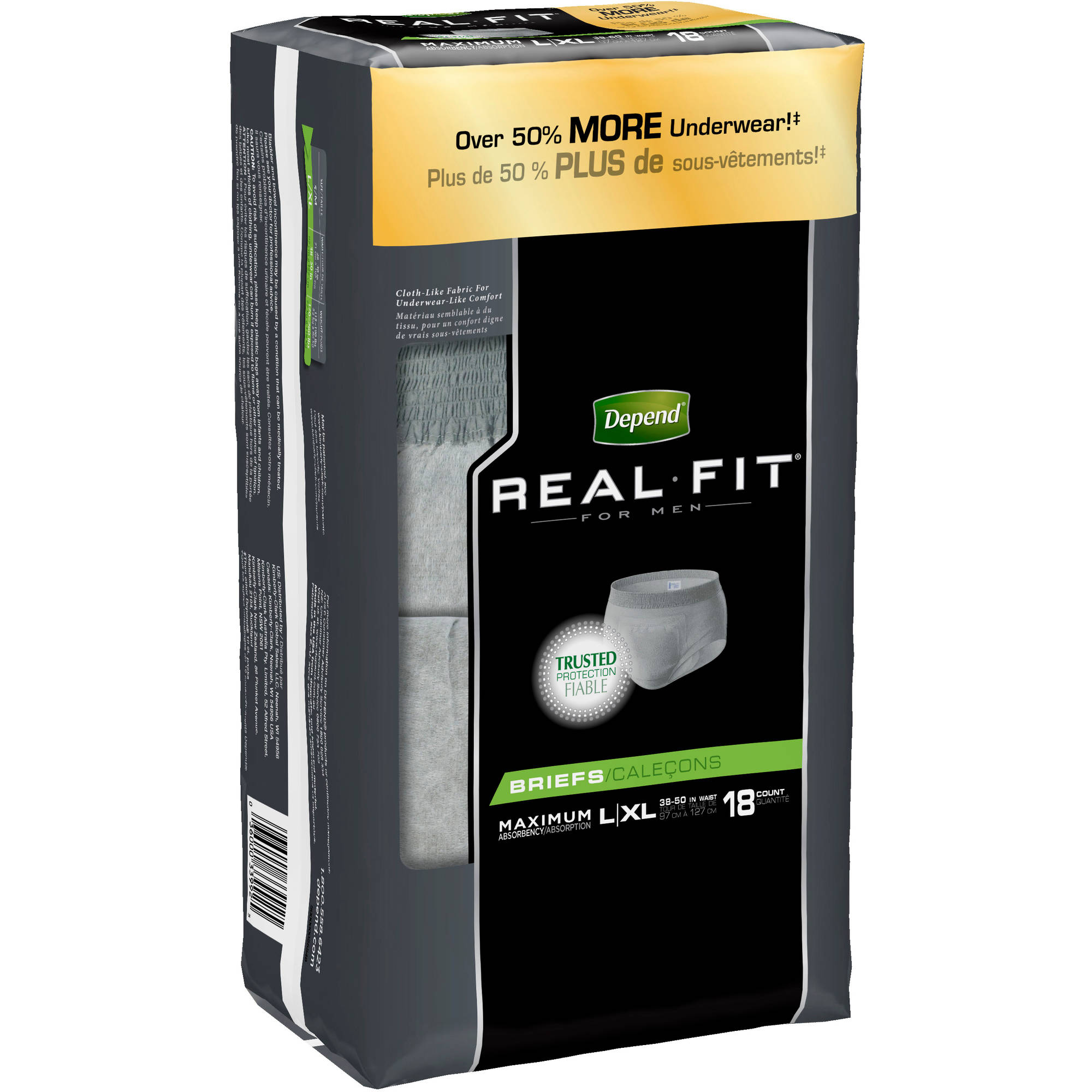 Depend Real Fit Incontinence Briefs for Men, Maximum Absorbency, L/XL (Choose Your Count)