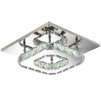 GHP 12W White Crystal & Stainless Steel Contemporary LED Ceiling Pendant Light