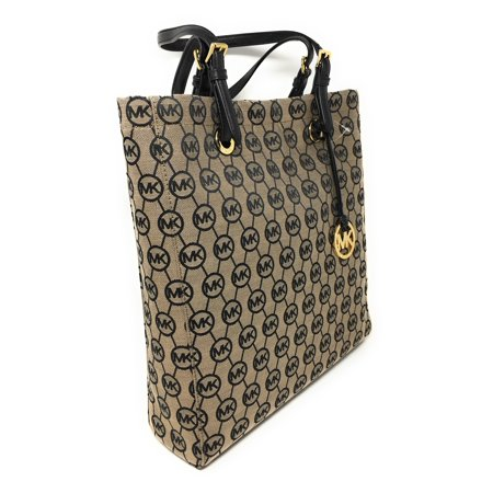 The North Face Tote (Michael Kors Signature Jacquard North South Tote  in Beige / Black / Black )